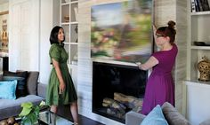 """Nice article on tips for hanging art.  I would like to add that I personally like to hang large works a minimum of 12"""" above sofas and furniture.  Particularly with sofas so as to have enough clearance for anyone who leans back or places their arms on top of the sofa (no one wants to accidently knock a large painting down on top of themselves!)"""