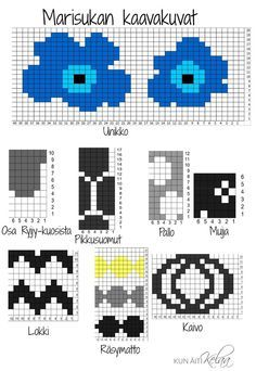 Bilderesultat for marimekko villasukat Fair Isle Knitting Patterns, Knitting Charts, Knitting Stitches, Knitting Socks, Motif Fair Isle, Fair Isle Pattern, Crochet Chart, Knit Or Crochet, 8bit Art