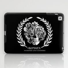Screwed and tattooed Ohm Skull iPad Case by Kristy Patterson Design - $60.00
