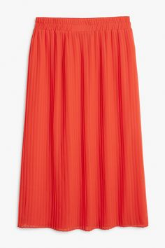 Monki Image 1 of Pleated midi skirt in Red Yellowish