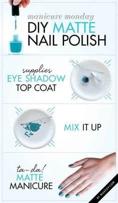 Make your own matte polish with a little eye shadow.