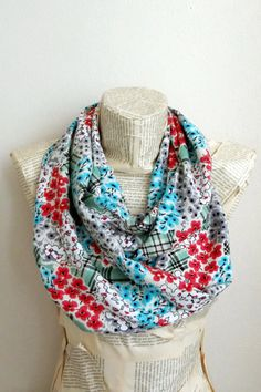 Hey, I found this really awesome Etsy listing at https://www.etsy.com/listing/227221276/floral-cotton-coral-turquoise-infinity