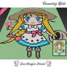 Country Girl crochet blanket pattern; knitting, cross stitch graph; pdf…