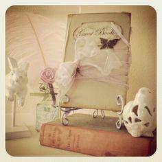 DIY Shabby Chic Wedding Guest Book Display