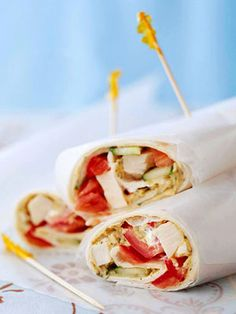 These wraps, ready in 15 minutes,  are full of flavor. Look for hummus in  in the deli of your grocery store.
