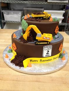 Construction Site Birthday Cake Complete With Chocolate Dirt Www Cafeattila Com