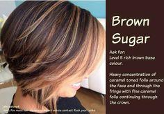 Beautiful caramel highlights on a deep chocolate brunette.