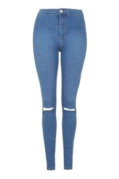 MOTO Mid Blue Ripped Joni Jeans