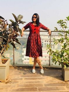 Maroon Ikat Dress from the house of Threeness. Featuring a simple and elegant maroon/white handwoven i Kalamkari Dresses, Ikkat Dresses, Designer Anarkali Dresses, Designer Dresses, Feeding Dresses, Casual Frocks, Casual Dresses, Girls Dresses, Dress Neck Designs
