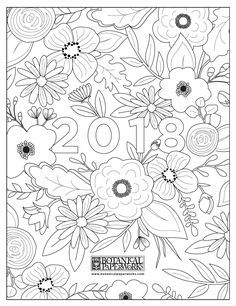 Color in this beautiful AND FREE botanical coloring pages calendar!