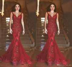 2016 New Sexy Arabic Evening Dresses Illusion Neck Mermaid Sequins Lace Appliqued Beads Burgundy Long Sheer Backless Prom Dress Party Gowns Online with $179.05/Piece on Yes_mrs's Store | DHgate.com