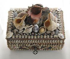 Shell-Encrusted Box http://www.pinterest.com/pin/499758889873071800/ .. http://www.pinterest.com/SeaShellFinery/victorian-seashell-souvenirs/