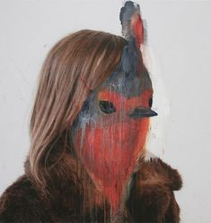 Charlotte Caron is 23 years young artist from Paris. The paintings of artist Charlotte Caron explores both the tendency between the animal and the portrait. Art And Illustration, Art Inspo, Kunst Inspo, Charlotte Caron, Art Amour, Street Art, A Level Art, Animal Heads, Animal Masks
