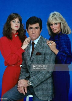 DYNASTY - gallery - Season One - 10/15/81, Pictured, from left: Pamela Sue Martin (Fallon Carrington), James Farentino (Dr. Nick Toscanni), Linda Evans (Krystle Carrington),