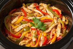 The easiest slow cooker chicken fajitas recipe! Yet they are still so tender and… The easiest slow cooker chicken fajitas recipe! Yet they are still so tender and flavorful! This slow cooker method is perfect for busy weeknights. Healthy Slow Cooker, Slow Cooker Recipes, Cooking Recipes, Healthy Recipes, Pan Cooking, Healthy Cooking, Healthy Dishes, Eat Healthy, Cooking Ideas