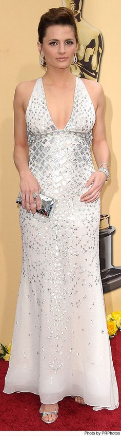 Stana Katic Wearing Roberto Cavalli Dress 82nd Annual Academy Awards  on March 7, 2010