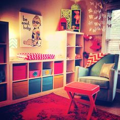 """""""Be Cool, Baby"""" - what a fun print in this colorful, yet modern nursery! #modern #nursery"""