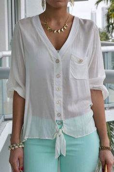 Discover this look wearing LSM Tops - Dana Tie Front Ivory Top by Shirts Blouses That Make You Look Fabulous - Daily Fashion OutfitsDizzy Shirts Blouses from 20 of the Perfect Shirts Blouses collection is the most trending fashion Blouse Styles, Blouse Designs, Shirt Blouses, Shirts, Chic Outfits, Fashion Outfits, Summer Blouses, Mode Style, Modest Fashion