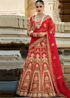 Blood Red Bridal Lehenga Images