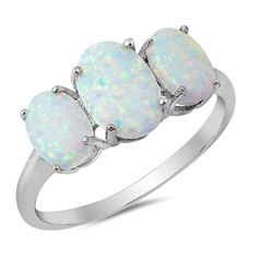 3-Stone Oval Created Opal Fashion Ring 925 Sterling Silver Choose Color Only $22.20