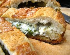 Stuffed Cheese Bread w/ Herbs.
