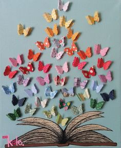 Cut-Paper Art Print © madebykale (Artist, Australia) via her shop at Hand-Made website: https://www.hand-made.com.au/listing/12545/ready_to_frame_print Colorful butterflies emerging from an open book $10 AUD ... Give credit where due. Acknowledge the artist by name here in the caption. Link / Pin from the Primary source. Promote blogs here in the caption. More
