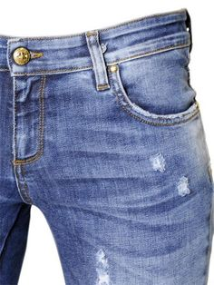 JOHN RICHMOND - SEQUINED INSERTS COTTON DENIM JEANS - LUISAVIAROMA - LUXURY SHOPPING WORLDWIDE SHIPPING - FLORENCE