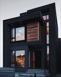 """REAL ESTATE MARKET on Instagram: """"Mate black, looks so cool. Would you have your house this way? Tag your partner . . . . . . #realestatemarket #realestatemarketing…"""" Modern Exterior House Designs, Black House Exterior, Modern Architecture House, Modern House Design, Exterior Design, Modern Buildings, Black Architecture, House Exteriors, Exterior House Colors"""