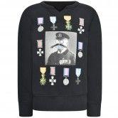 Diesel Boys Black Medal Print Sweater
