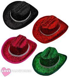 Details about MINI COWBOY HAT COWGIRL FANCY DRESS WILD WEST TINSEL GLITTER  FASCINATOR CLIP ON 25f288d995d7