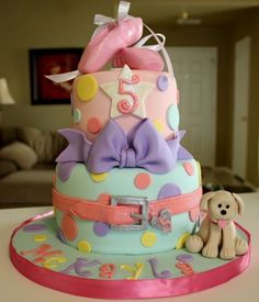 ballet and puppy dog cake