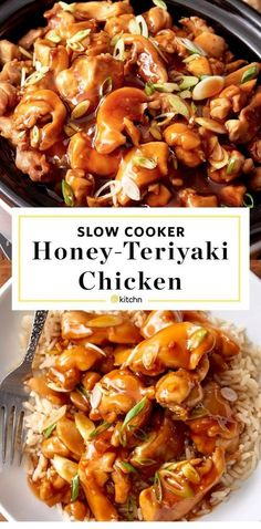 Easy honey teriyaki chicken in the slow cooker. - ChickenEasy honey teriyaki chicken in the slow cooker. Use your crock pot to make this simple meal. Like your favorite stir fry only with a homemade honey garlic sauce kids and adults Honey Teriyaki Chicken, Teriyaki Sauce, Garlic Chicken, Asian Chicken, Crack Chicken, Bbq Chicken, Fried Chicken, Teriyaki Chicken Slow Cooker, Crockpot Honey Chicken