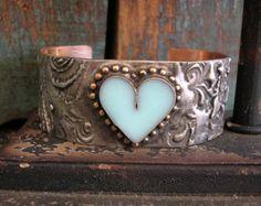 Cuore bracciale braccialetto Boho - Timeless - gioielli, cuore, amore, gioielli di Boemia zingaresca, uovo robins blu, rustici metalli misti saldati gioielli