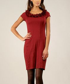 Look at this #zulilyfind! Bordeaux Rosette Cap-Sleeve Dress #zulilyfinds