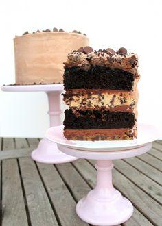 Midnight Binge Cake from Bakerita.com | Five-Layers of Chocolate Cake and Cookie Dough Decadence!