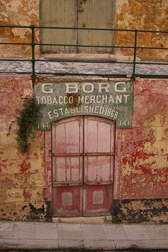 Pink door, old tobacco merchant doorway, Flickr