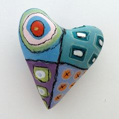 Valentine  Ceramic Heart Wall Sculpture Pillow   by Mudgoddess, $38.00