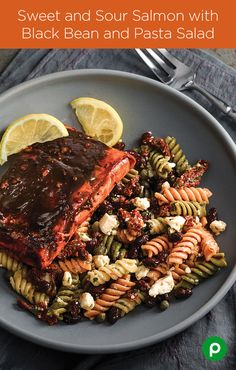 You can grill it, wrap it, smoke it, blacken it, or marinate it. That's the great thing about salmon: You can have it every night with a different taste experience. The Sweet and Sour Salmon with Black Bean and Pasta Salad is popular with the Publix and Aprons Simple Meals crowd.