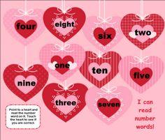 Valentine Heart Number Words SMART BOARD Game