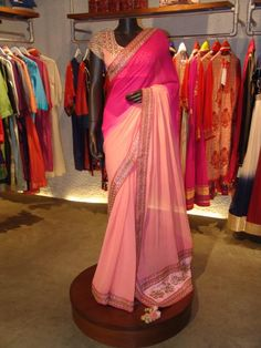 Light & Hot Pink #Saree By Nikasha.