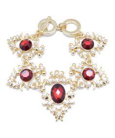 Look what I found on #zulily! Red Crystal & Goldtone Regal Bracelet #zulilyfinds