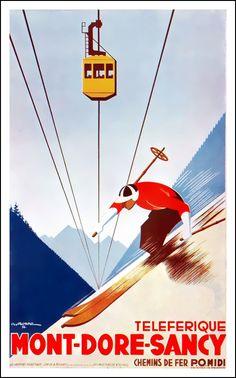 Vintage Sancy ski poster - Cable Car - Ride the ancient French Volcanos !....réépinglé par Maurie Daboux ✺❃✿