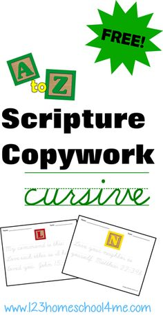 Homeschool Copywork: FREE Cursive Bible Verses Copywork Writing Pages! Free Scripture Copywork for homeschool families ♥♥ There are blank lined pages and cursive tracing pages. Great verses every kid should memorize! Cursive Handwriting Practice, Writing Cursive, Handwriting Worksheets, Handwriting Sheets, Handwriting Ideas, Pre Writing, Scripture Memorization, Bible Verses, Family Scripture