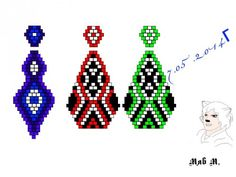 Various ornaments earrings brick weave. Seed Bead Projects, Beading Projects, Seed Bead Jewelry, Seed Bead Earrings, Beaded Earrings, Loom Patterns, Beading Patterns, Free Beading Tutorials, Native American Patterns
