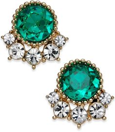 Charter Club Gold-Tone Crystal & Green Stone Stud Earrings, Created for Macy's