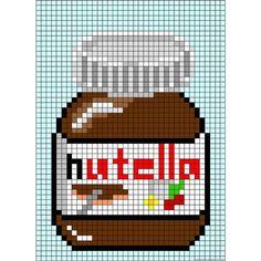 Pixel Art Ideas Templates Creations Easy / Anime / Pokemon / Game / Gird Maker Nutella jar perler bead patternNutella jar per Hama Beads Design, Hama Beads Patterns, Beading Patterns, Loom Patterns, Embroidery Patterns, Jewelry Patterns, Cross Stitching, Cross Stitch Embroidery, Cross Stitch Patterns