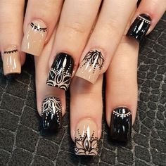 Nude and black mandala  by Oli123 from Nail Art Gallery