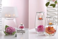 Decorating for Spring: Use bright flowers in clear glass vases to add color and happiness to your decor #candles