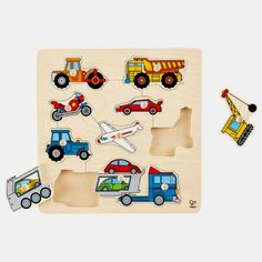 Hape - Home Education Vehicles Wooden Knob Puzzle Wooden Puzzles, Wooden Toys, Toddler Toys, Kids Toys, Hape Toys, Puzzle Frame, Play, Novelty Gifts, Toy Store