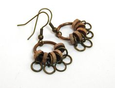 Repurposed Tribal Earrings Wood Beads Warrior Woman Dangle Rustic Patina Natural Materials Post Apocalyptic Industrial Jewelry Mad Max